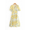 Pretty Girls Short Sleeve V-Neck All-Over Floral Printed Ruffled Long A-Line Dress in Yellow