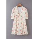 Cute Girls Short Sleeve V-Neck All Over Flower Patterned Bow Tied Mini Pleated A-Line Dress in White
