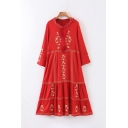 Leisure Ethnic Long Sleeve Round Neck Cut Out Front Floral Stripe Printed Fringe Long Pleated Swing Dress