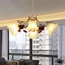 Metal Beige Chandelier Light Fixture Scalloped 4/6/9 Bulbs Traditional Rose Down Lighting for Bedroom