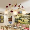 2/3 Heads Chandelier Pendant Light Antique Blossom Metal LED Suspension Lamp in Ginger for Dining Room
