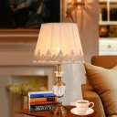 Beige Flare Crystal Table Light Modern 1 Bulb Fabric Small Desk Lamp with Metal Base