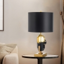 Contemporary 1 Head Table Light Black Cylinder Small Desk Lamp with Fabric Shade