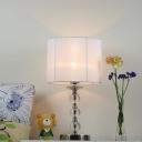 Cylindrical Study Lamp Modernist Fabric 1 Head White Reading Light for Living Room