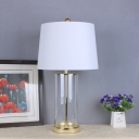 White Drum Task Lighting Contemporary 1 Bulb Fabric Night Table Lamp for Bedroom