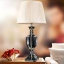 Modernist Urn Shape Reading Light Hand-Cut Crystal 1 Bulb Nightstand Lamp in White
