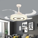 4 Blades Acrylic White Semi Flushmount Circle Led Modernism Pendant Ceiling Fan Lamp for Bedroom, 42