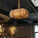 3-Bulb Rope Pendant Light Farmhouse Beige Explosive Package Restaurant Ceiling Chandelier with Fabric Shade