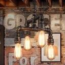 4 Lights 2-Layer Water Pipe Pendant Industrial Rust Metal Hanging Chandelier for Restaurant
