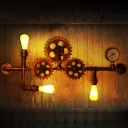 3-Light Gear Wall Sconce Light Vintage Rust Iron Wall-Mounted Lamp with Gauge Deco