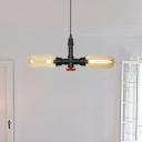 Amber Glass Capsule LED Chandelier Lighting Industrial 2 Heads Coffee House Ceiling Hang Fixture in Black