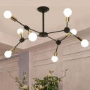 Branch Iron Pendant Chandelier Contemporary 8 Bulbs Black Finish Suspension Light