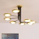 Circle Metal Ceiling Chandelier Modern 8-Head Black and Gold LED Hanging Light Kit with Spiral Design