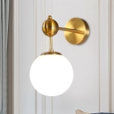 Ball Sconce Lighting Fixture Modern Opal Glass 1 Bulb Brass Wall Mounted Lamp with Adjustable Node