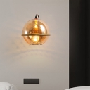 Global Bedside Wall Light Sconce Cognac Glass 1 Bulb Contemporary Wall Mount Lamp in Brass