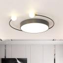 Drum Iron Flush Lighting Fixture Minimalist Black/Grey LED Flush-Mounted Lamp in White/Warm Light with 2 Modo Light