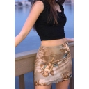 Fancy Womens High Rise Angle Printed Stringy Selvedge Mini A-Line Skirt in Brown