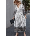 Pretty Ladies Long Sleeve V-Neck Button Up All-Over Floral Printed Maxi A-Line Dress