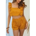 Pretty Cute Girls Yellow Sleeveless Square Neck Ruffle Trimmed Polka Dot Fit Crop Top with Shorts