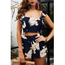 Beach Girls Navy Sleeveless Square Neck Ruffled All Over Floral Slim Fit Crop Tank Top with Shorts