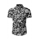 Unique Short Sleeve Lapel Collar Button Down All Over Floral Patterned Slim Fitted Shirt for Guys