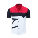 Simple Fashion Guys Short Sleeve Lapel Collar Button Down Color Block Stripe Relaxed Shirt in Red