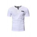 Basic Mens Short Sleeve V-Neck Button Up Striped Slim Fitted T-Shirt