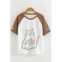 Chic Girls Short Sleeve Round Neck Cat Fish Printed Embroidery Color Block Relaxed T Shirt