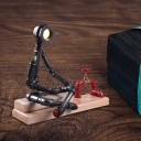 LED Cross Legged Thinker Table Light Vintage Black Iron Plug In Desk Lamp with Red Valve Deco and Rectangle Wood Base
