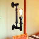 Iron Black Wall Sconce Light Pencil Pipe Arm 1 Head Antiqued Wall Mounted Lamp Fixture