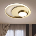 Circle Bedroom Flush Lighting Fixture Acrylic LED Contemporary Flush Mount Lamp in Gold