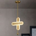 Gold Crossing Rectangle Pendant Modernist LED Metal Hanging Lighting with Acrylic Shade