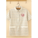 Lovely Girls Short Sleeve Lapel Collar Button Down Pockets Side Lace Trim Embroidery Plaid Print Relaxed Shirt