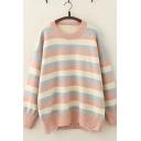 Stylish Ladies Long Sleeve Round Neck Stripe Printed Ripped Oversize Sweater