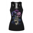Trendy Ladies Sleeveless Round Neck Flag Sunflower Patterned Hollow Out Relaxed Fit Tank Top in Black