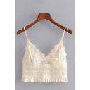 Sexy Basic Sleeveless V-Neck Lace Ruffle Panel Pleated Crop Bustier Top in Beige
