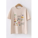 Leisure Summer Womens Short Sleeve Round Neck Cattoon Mix Printed Relaxed Fit Tee Top