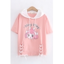 Cute Fancy Girls Short Sleeve Hooded Letter BLING BLING Cartoon Graphic Lace Up Contrasted Loose T Shirt