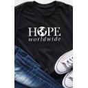 Basic Girls Roll-Up Sleeves Crew Neck Letter HOPE WORLDWIDE Print Relaxed Tee in Black