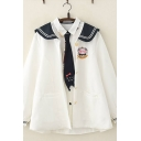 Fancy Girls Long Sleeve Sailor Collar Button Down Cartoon Embroidery Striped Contrasted Relaxed Fit Jacket