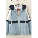 Leisure Classic Girls Long Sleeve Hooded Drawstring Zip Up Color Block Relaxed Fit Thick Jacket