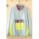 Cool New Fashion Long Sleeve Stand Collar Half Zipper Flap Pocket Bear Graphic Color Block Oversize Denim Jacket in Blue