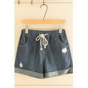 Chic Street Girls Drawstring Waist Fox Embroidered Rolled Cuffs Relaxed Denim Shorts
