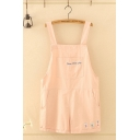 Pretty Girls Sleeveless Letter THE LITTLE PIGS Embroidery Relaxed Suspender Romper