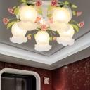 White Floral Ceiling Light Fixture Vintage Metal 3/5 Heads Living Room Flush Mount Lamp