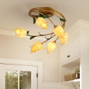 Metal Brass Ceiling Lamp Tulip 6 Lights Antique LED Semi Flush Light Fixture for Living Room