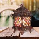 Laser Cut Nightstand Lamp Traditionary Metal 1 Bulb Task Lighting in Black for Bedside
