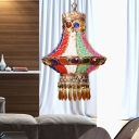 Metal Urn Ceiling Light Bohemian 1 Head Pendant Lighting Fixture in Red/White for Bedroom