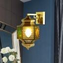 1 Light Wall Sconce Light Fixture Art Deco Hollow Metal Wall Lighting in Brass for Hallway