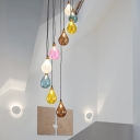 9 Lights Living Room Cluster Pendant Modern White/Pink LED Hanging Ceiling Light with Droplet Frosted Glass Shade